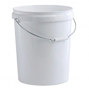 25 LITRE WHITE FOOD GRADE PLASTIC BUCKET CONTAINER & LID